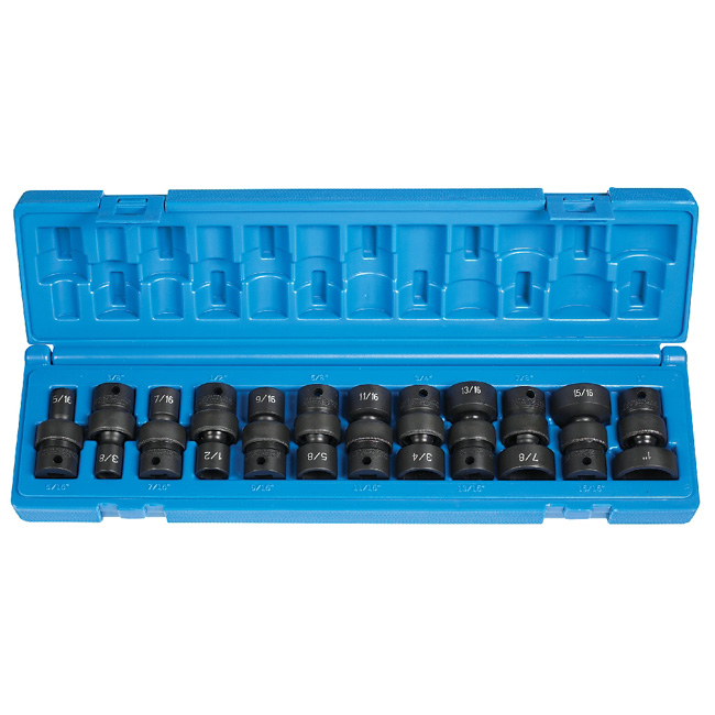 10 Piece 3//8 Drive 6 Point Swivel Metric Impact Socket Set SK Hand Tools SKT-33351