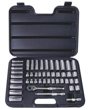 ATD-1245 SAE and Metric Socket Set  47 Pc. 3/8 Dr. 6pt by ATD Tools 1245