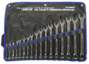 PLT-99550 17 Pc. SAE Long Pattern Combination Wrench Set Platinum 99550