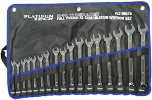 PLT-99570 17 Pc. Metric Long Pattern Combination Wrench Set Platinum 99570