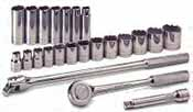 SKT-4123 SK 4123 23 Pc. 1/2 Dr. 6 pt. And 12 Pt. SAE Socket Set