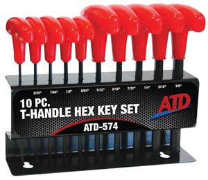 ATD-574 ATD 10 Pc. SAE T-Handle Hex Key Set