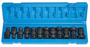GRY-1212U Grey Pneumatic 3/8 Dr. 12pc. Std. SAE 6pt. Universal Impact Set