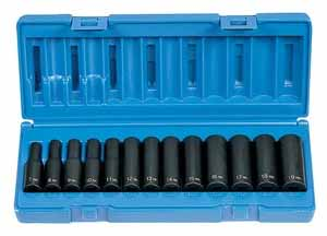 GRY-1213MD Grey Pneumatic 3/8 Dr. Deep Metric 13pc. Impact Socket Set 7-19mm