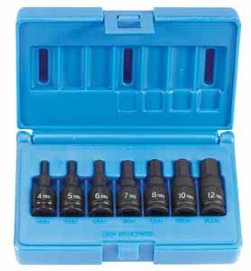 GRY-1297MH Grey Pneumatic 3/8 Dr. 7pc. Metric Impact Hex Driver Set 4-12mm