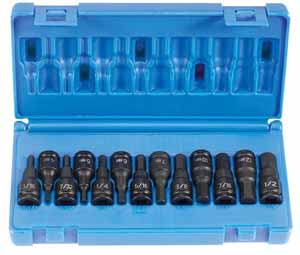 GRY-1298HC Grey Pneumatic 3/8 Dr. 13pc. SAE/MM Impact Hex Driver Set