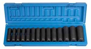 GRY-1412MD Grey Pneumatic 1/2 Dr. 14pc. Metric Deep Impact Socket Set 10-27mm