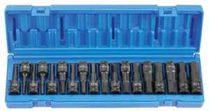 GRY-1598HC Grey Pneumatic 1/2 Dr. 18pc. SAE/MM Impact Hex Driver Set