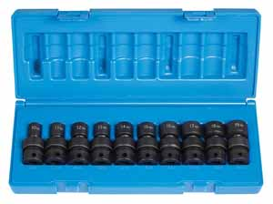 GRY-1610UM Grey Pneumatic 12pt. 3/8 Dr. Metric Impact Universal Socket Set